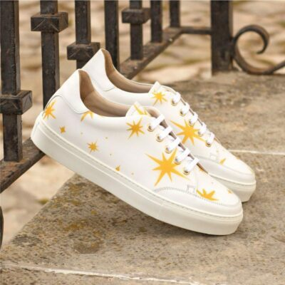 Custom Made Women's Tennis Shoe in White Box Calf with Stenciled Stars
