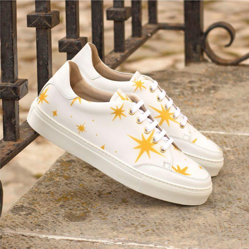 Custom Made Women's Tennis Shoe in White Box Calf with Stenciled Stars