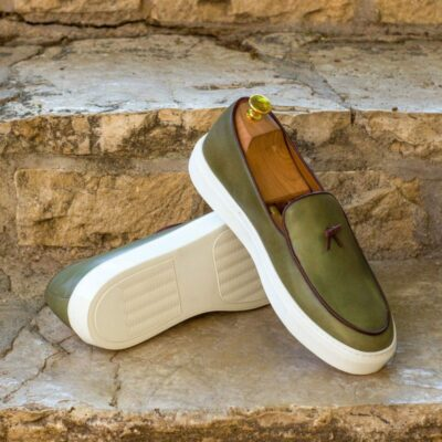 Custom Made Belgian Sneaker in Olive Polished Calf Leather