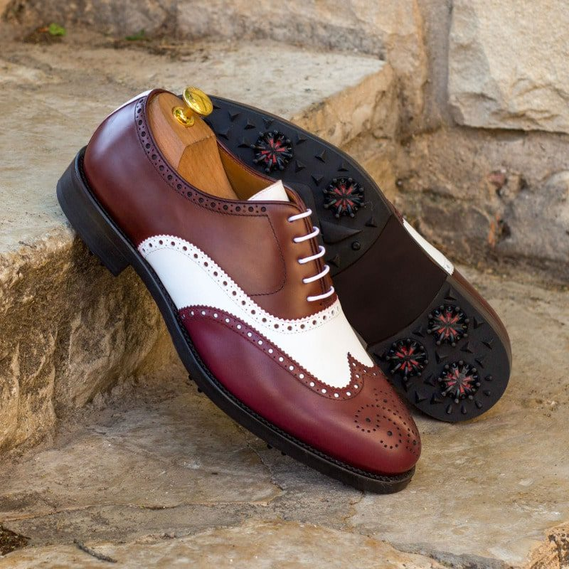 Custom Made Full Brogue Golf Shoes in Burgundy and White Box Calf with Softspikes®