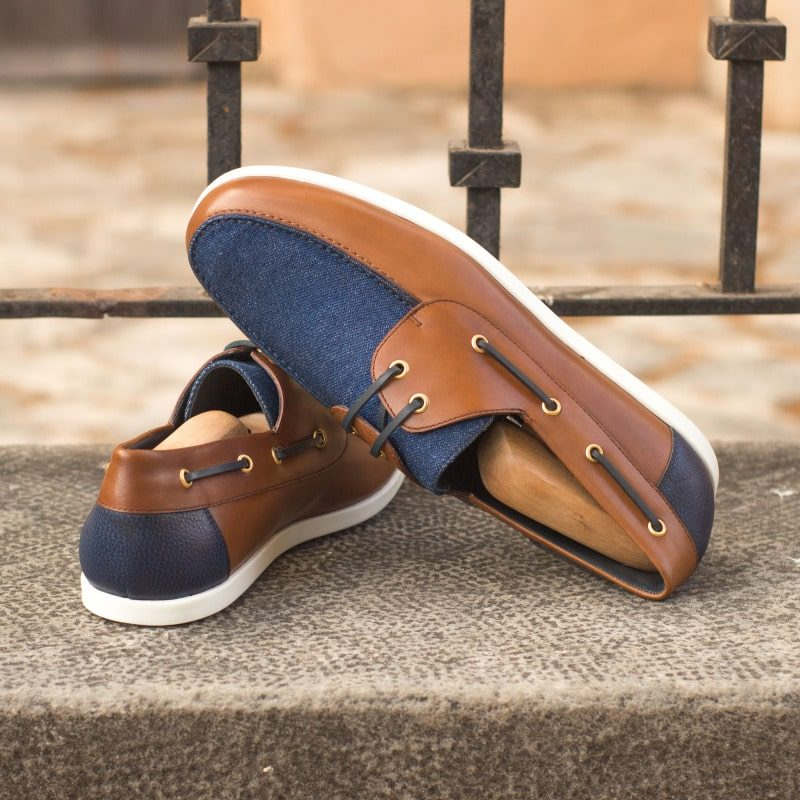 Custom Made Men's Boat Shoe in Cognac Painted Calf with Denim and Navy Blue Painted Full Grain Leather