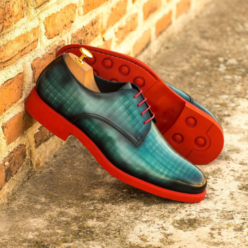 Custom Made Men's Derby in Italian Calf Leather with a Turquoise Papiro Hand Patina Finish and Red Painted Calf