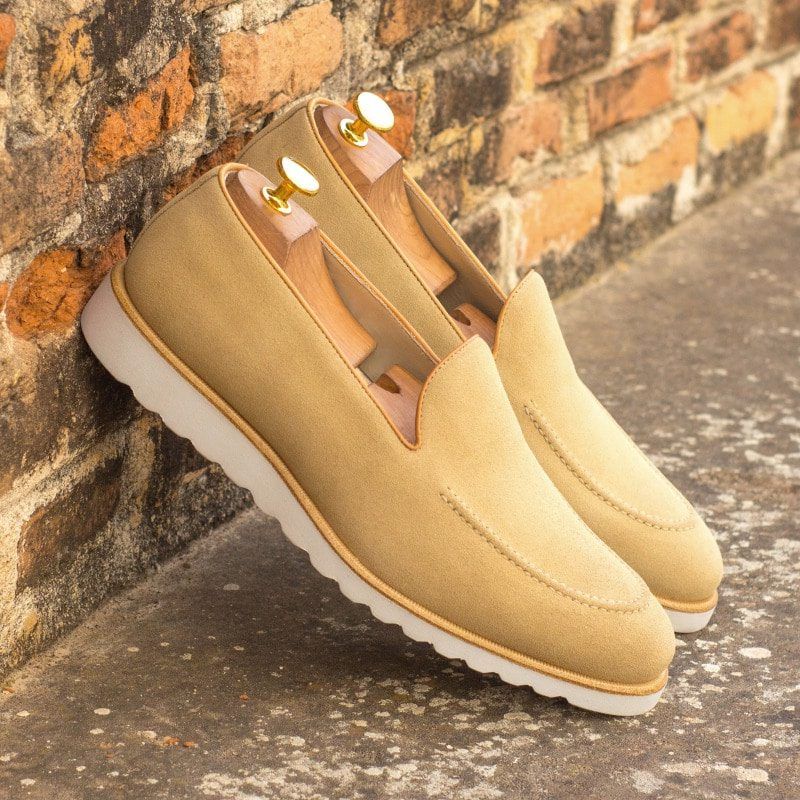 Custom Made Men's Loafer in Sand Luxe Suede with Cognac Painted Calf