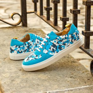 Custom Made Men's Low Top Trainers in Turquoise Kid Suede with Cyan Pixel Camo Stencil Art