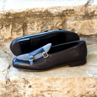 Custom Made Monk Slippers in Black Painted Calf with Light Grey Flannel
