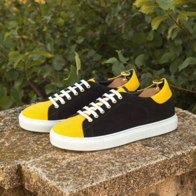 Custom Made Trainers in Black Luxe Suede and Mustard Yellow Linen