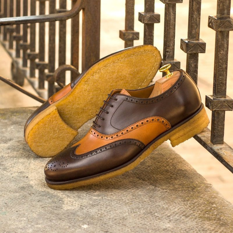 Custom Made Wingtips in Dark Brown and Cognac Painted Calf Leather