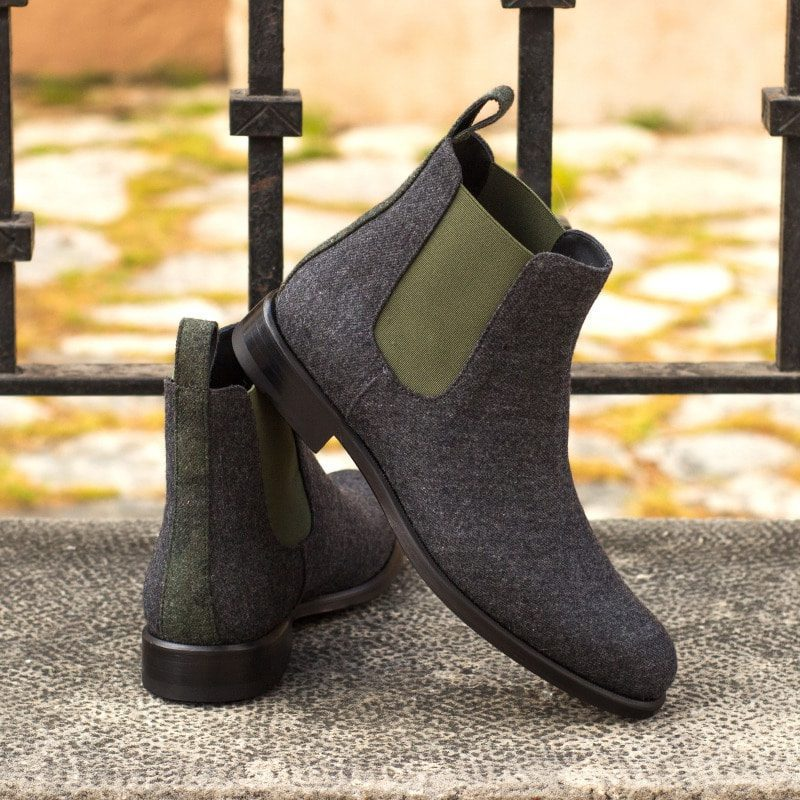 Custom Made Women's Chelsea Boot in Dark Grey Flannel with Camo