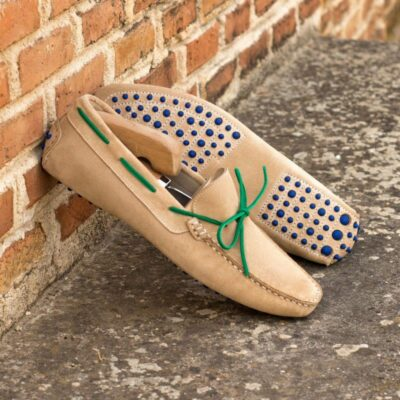 Custom Driving Shoes in Camel and Green Suede