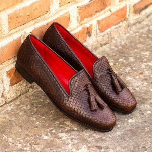 Custom Made Audrey Slipper in Dark Brown Genuine Python