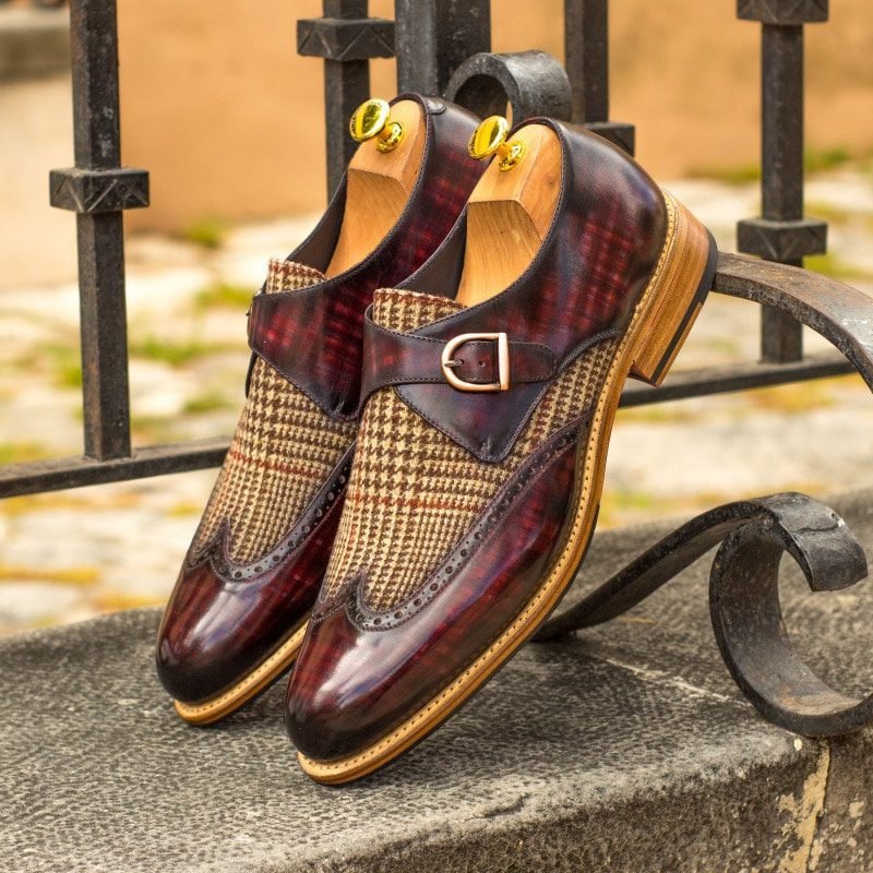 Custom Made Goodyear Welted Single Monks in Raw Crust Italian Calf Leather with a Burgundy Hand Patina and Tweed