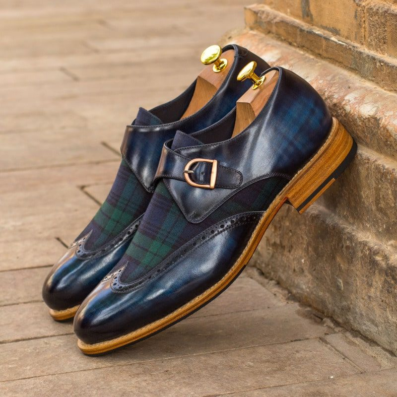 Custom Made Goodyear Welted Single Monks in Raw Crust Italian Calf Leather with a Denim Blue Hand Patina and Blackwatch