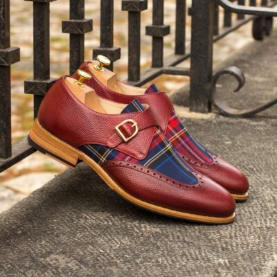 Custom Made Goodyear Welted Single Monks in Red Pebble Grain Leather and Tartan