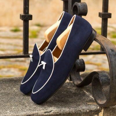 Custom Made Men's Belgian Slipper in Navy Blue Suede