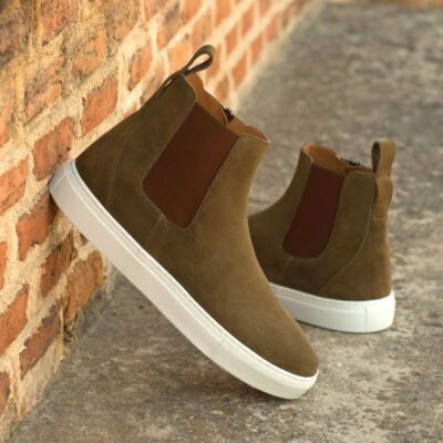 Custom Made Men's Chelsea Sport Boot in Khaki Luxe Suede