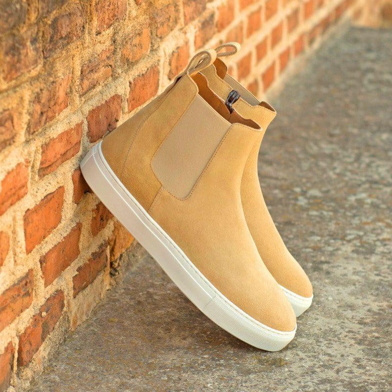 Custom Made Men's Chelsea Sport Boot in Sand Luxe Suede