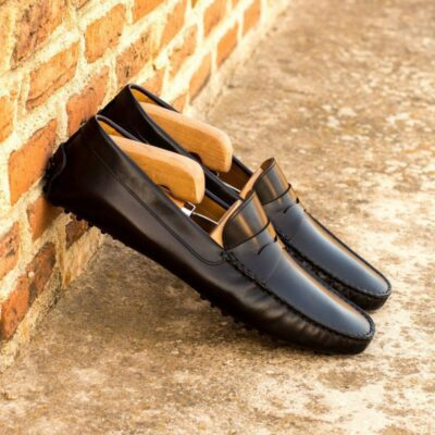 Custom Made Men's Driving Loafer in Black Painted Calf Leather