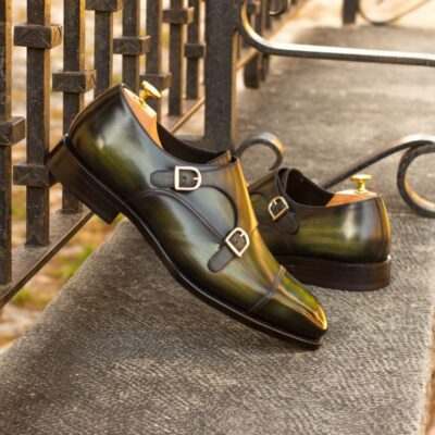 Custom Made Men's Goodyear Welt Double Monk in Italian Calf Leather with a Khaki Hand Patina Featuring Metal Toe Taps