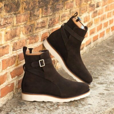 Custom Made Men's Goodyear Welted Jodhpur Boot in Dark Brown Luxe Suede
