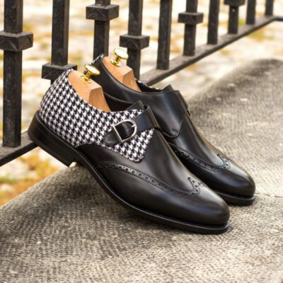 Custom Made Men's Goodyear Welted Single Monk in Black Box Calf with Houndstooth Wool