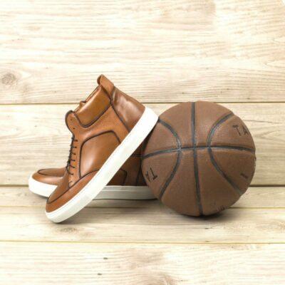 Custom Made Men's High Top Multi in Medium Brown Painted Calf and Pebble Grain Leather