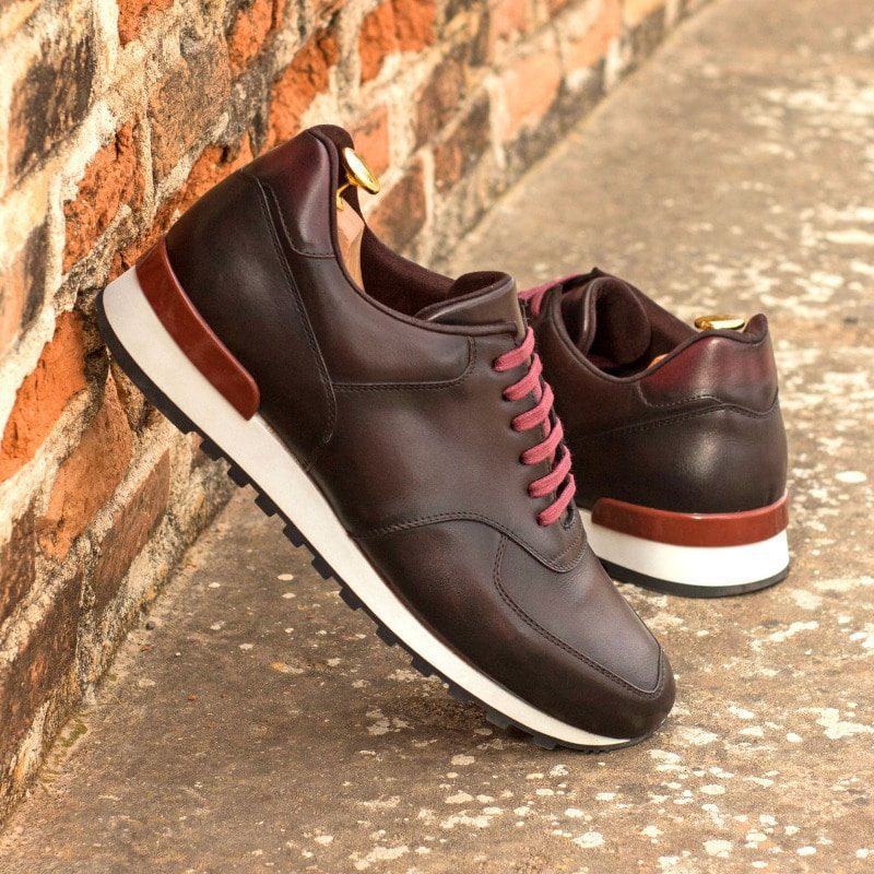 Custom Made Men's Sneaker in Burnished Dark Brown and Burgundy Painted Calf Leather