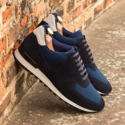 Custom Made Men's Sneaker in Navy Blue Luxe Suede