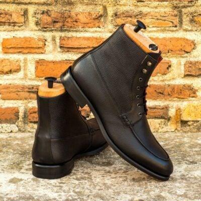 Custom Made Moc Boot in Black Pebble Grain Leather with Black Box Calf Trim