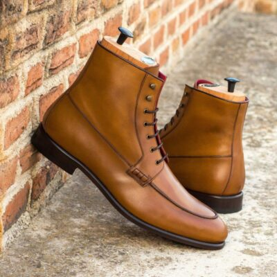 Custom Made Moc Boot in Cognac Box Calf with Dark Brown Box Calf Trim