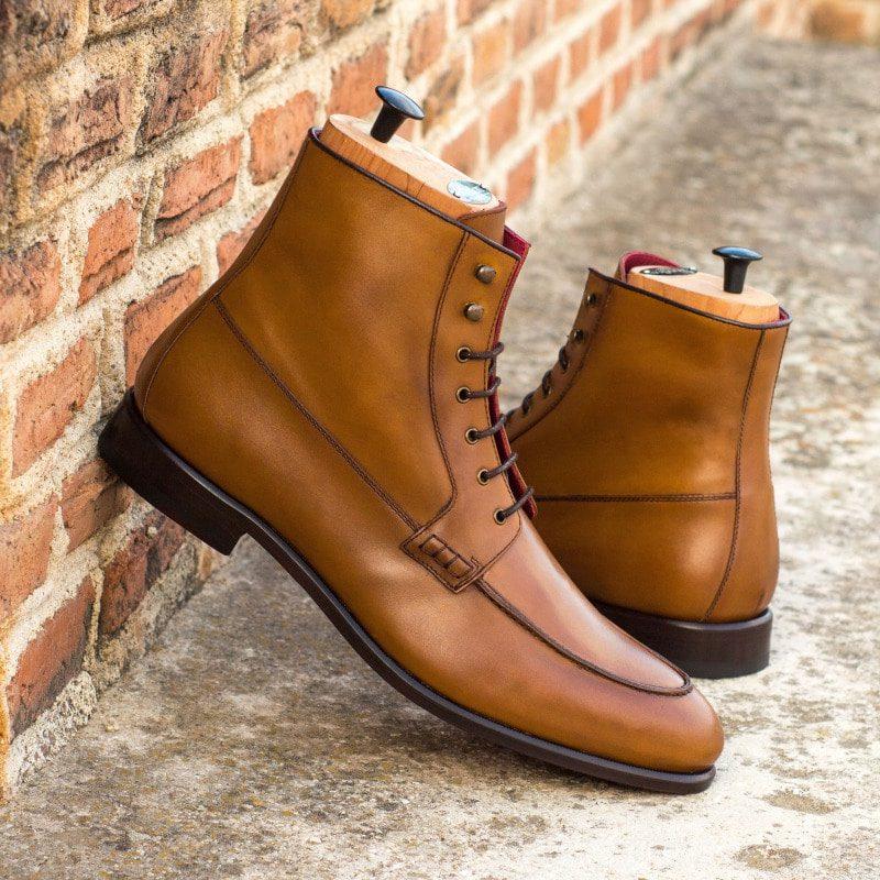 Custom Made Moc Boot in Cognac Box Calf with Dark Brown Box Calf Trim