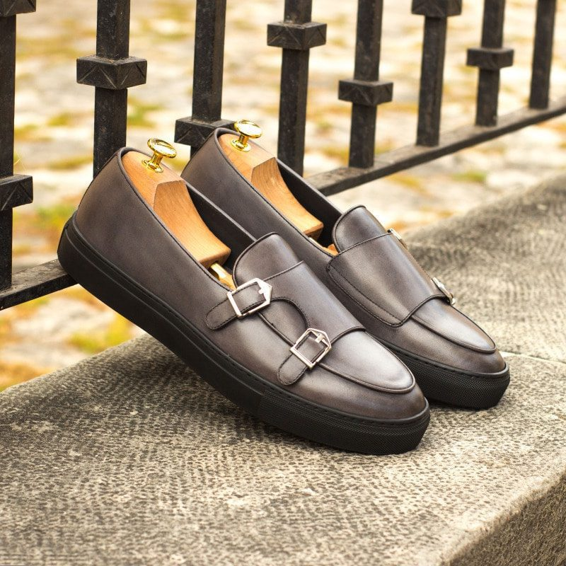 Custom Made Monk Sneakers in Grey Painted Calf