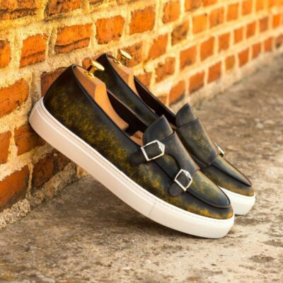 Custom Made Monk Sneakers in Italian Calf Leather with a Khaki Marble Hand Patina