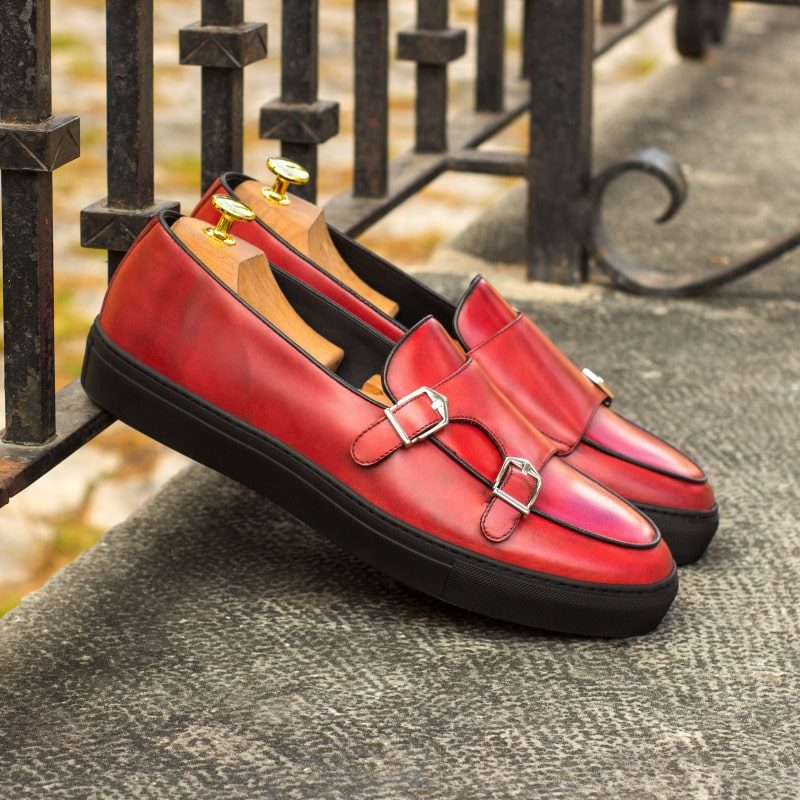 Custom Made Monk Sneakers in Red Polished Calf
