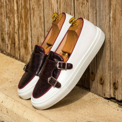Custom Made Monk Sneakers in White Box Calf with Burgundy Genuine Ostrich