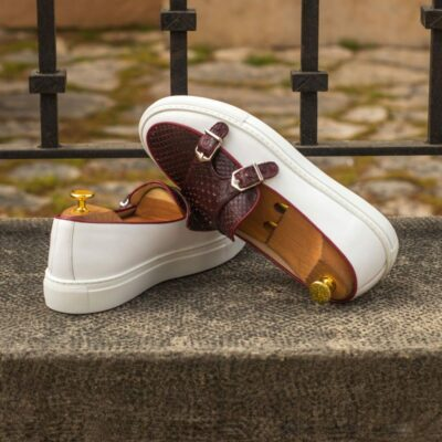 Custom Made Monk Sneakers in White Box Calf with Burgundy Genuine Python