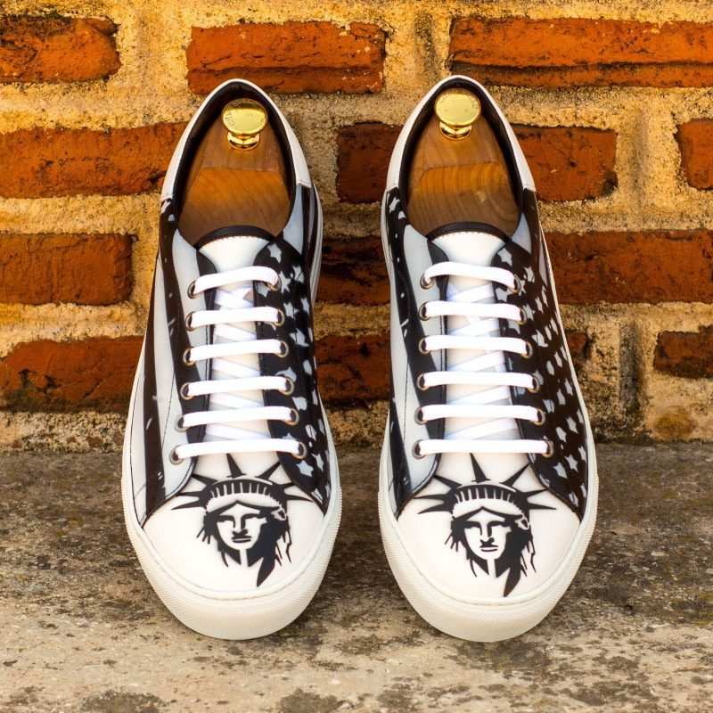 Custom Made Trainers in Black and White Box Calf with Stencil Art