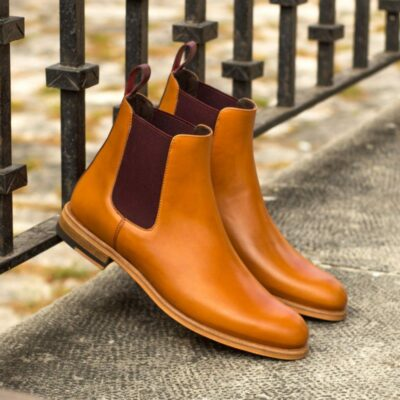 Custom Made Women's Chelsea Boot in Cognac and Burgundy Painted Calf Leather