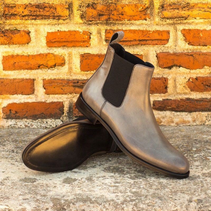 Custom Made Women's Chelsea Boot in Grey Polished Calf with Light Grey Flannel