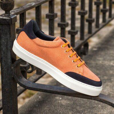 Custom Made Women's Tennis Shoe in Orange Linen with Navy Blue Luxe Suede