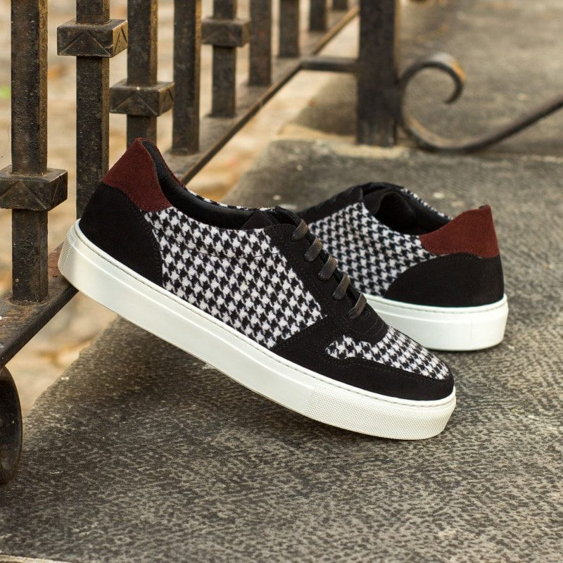 Custom Made Women's Trainer in Houndstooth with Black and Burgundy Luxe Suede