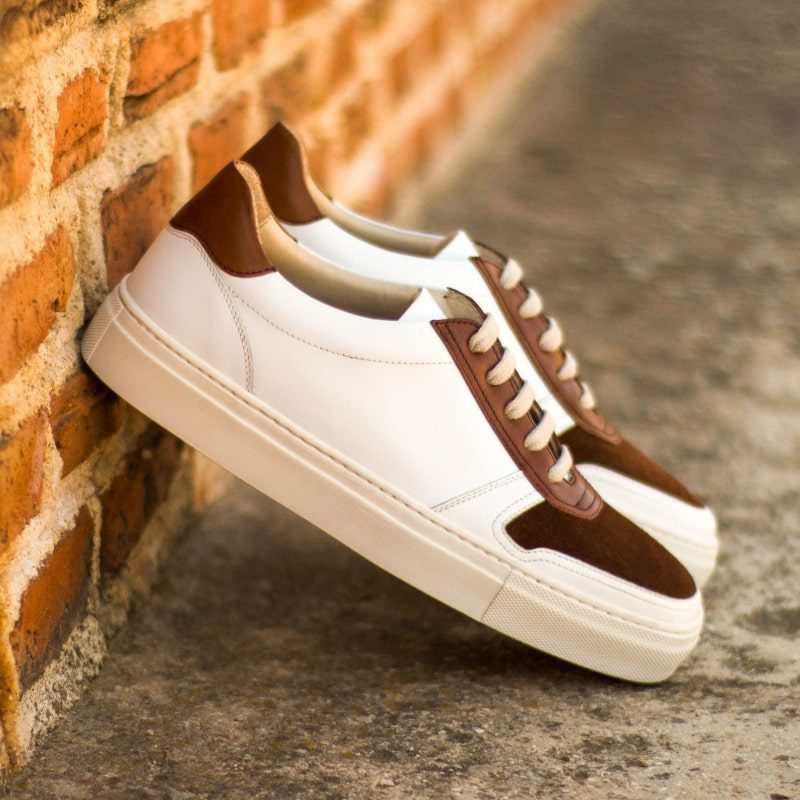 Custom Made Women's Trainer in White Box Calf with Medium Brown Luxe Suede and Painted Calf