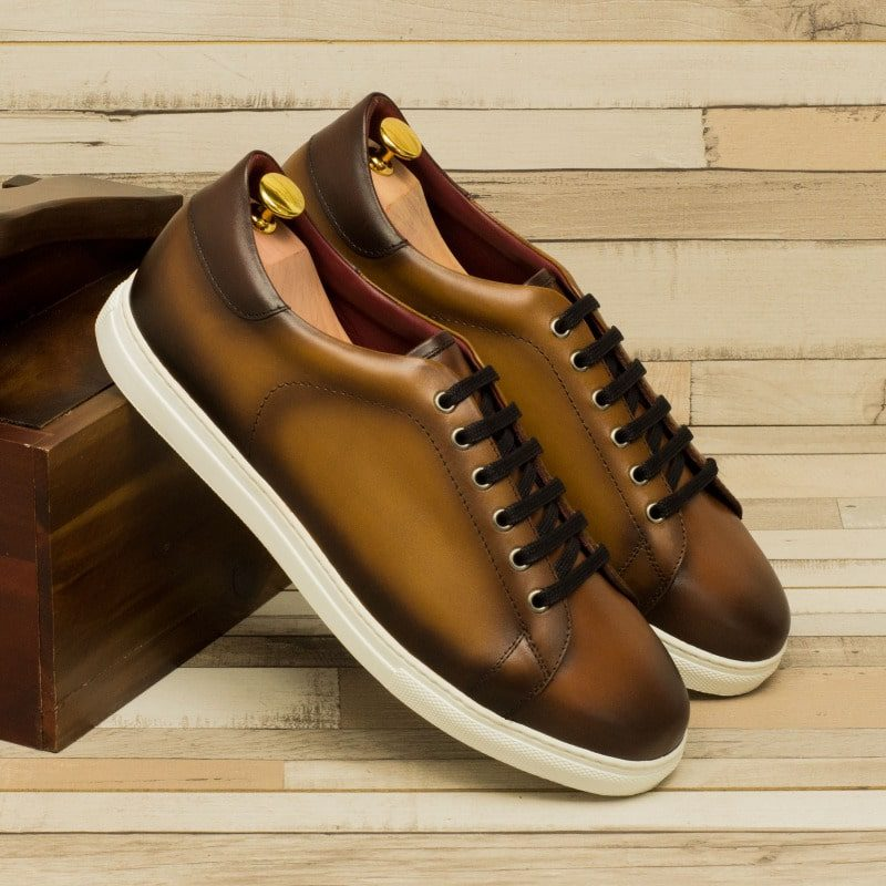 Custom Made Cupsole Trainers in Burnished Cognac, Medium Brown and Dark Brown Box Calf