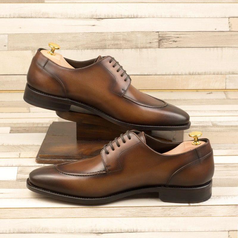 Custom Made Goodyear Welt Split Toe Derby in Medium Brown Painted Calf Leather