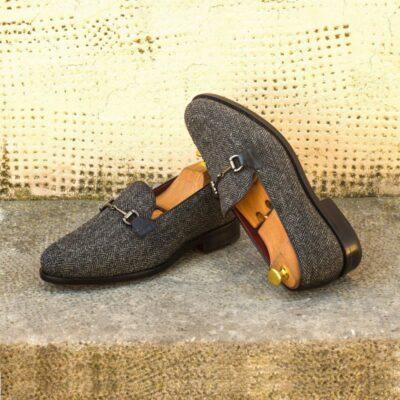 Custom Made Goodyear Welted Loafers in Herringbone with Black Croco