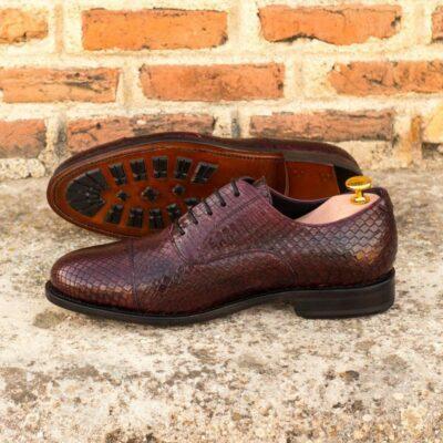 Custom Made Goodyear Welted Oxford in Burgundy Genuine Python