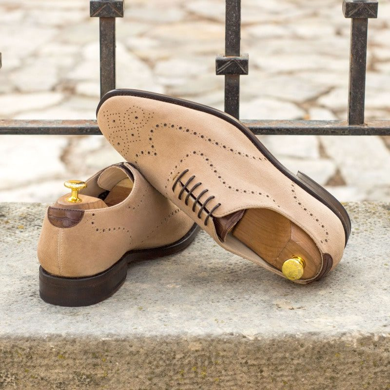 Custom Made Goodyear Welted Whole Cut Dress Shoes in Taupe Kid Suede with Dark Brown Croco