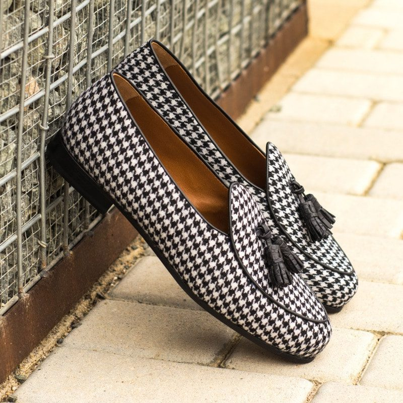 Custom Made Men's Belgian Slipper in Houndstooth with Black Croco Tassels