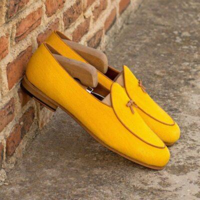 Custom Made Men's Belgian Slipper in Mustard Yellow Linen
