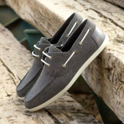 Custom Made Men's Boat Shoe in Light Grey Flannel with Grey Painted Calf Leather