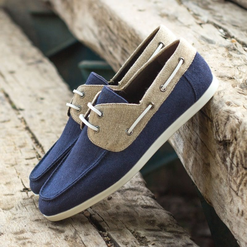 Custom Made Men's Boat Shoe in Navy Blue and Ice Linen